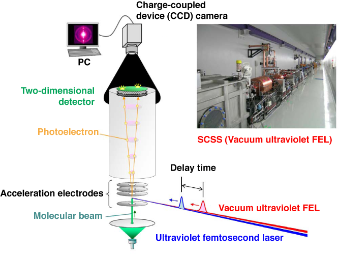 Fig. 1 Schematic of experimental setup for time-resolved photoelectron imaging using synchronized vacuum ultraviolet FEL and ultraviolet femtosecond laser, and photograph of SCSS test accelerator