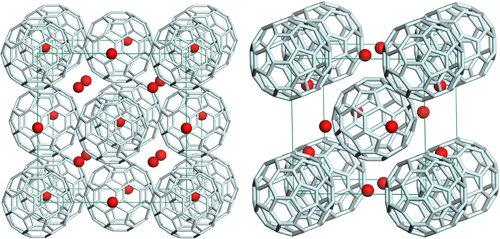 Fig. 1	Crystal structures of fullerene Cs3C60: fcc Cs3C60 with Tc=35 K (left) and bcc Cs3C60 with Tc=38 K (right)