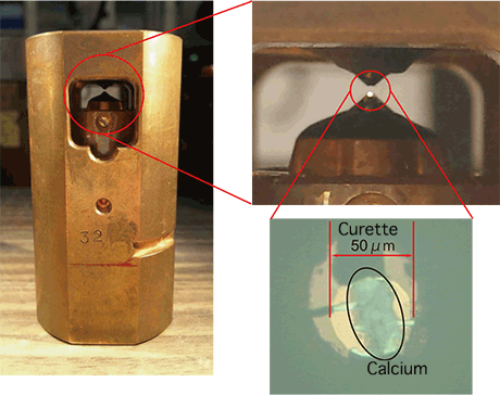 Fig. 2 	Photographs of high-pressure apparatus (left; diamond anvil cell right) and sample in apparatus (right)
