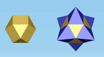 Fig. 1. A cubic octahedron, and a star-shaped octahedron derived from it.