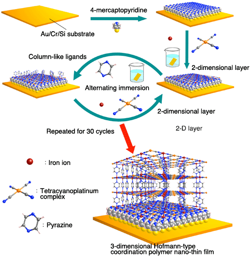 Fig. 2. Creation of crystal-oriented 3D-PCP nano-thin film