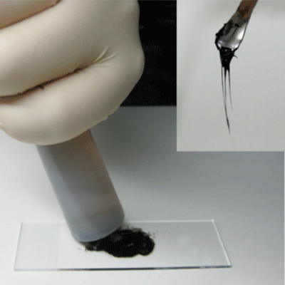 Fig. 2. Mixing ionic liquid crystal with CNTs; the mixture paste thus obtained (right top)
