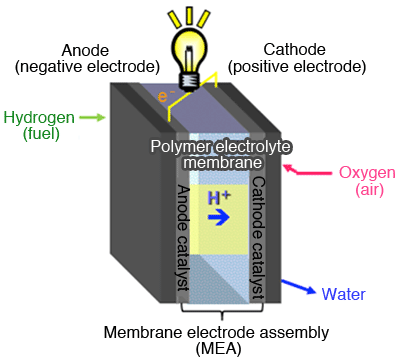 Fig. 1. Schematic diagram representing a fuel cell (hydrogen fuelled).