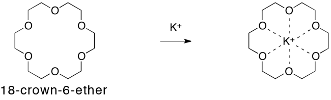 Fig.1. Crown ether that contains a potassium ion selectively.