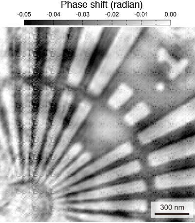 Fig. 3	Phase shift image of test chart visualized by focused X-ray ptychography with spatial filter