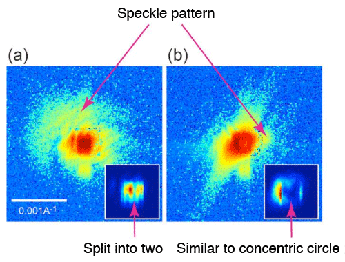 Fig. 2	Characteristic coherent Bragg diffraction patterns observed in single-crystal silicon thin film (shown with logarithmic scale)
