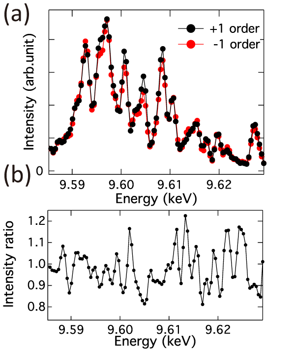 Fig. 2	Spectra obtained by two diffracted light beams without sample