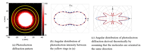 Fig. 3 Photoelectron diffraction pattern and its angular distribution