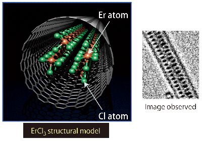 Fig. 4	ErCl3 nanowire formed in carbon nanotube.