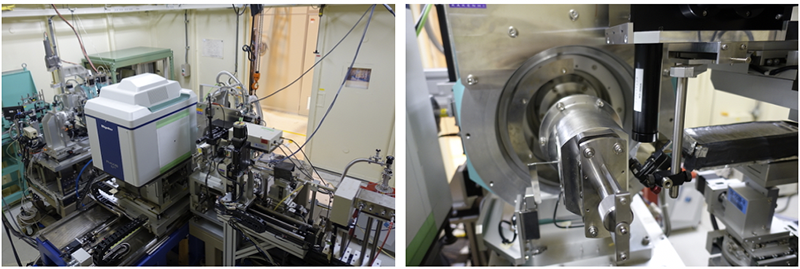 Fig. 3. Integration system of X-ray diffraction diffractometer and Raman scattering for high pressure and low temperature experiments in experimental hutch 1